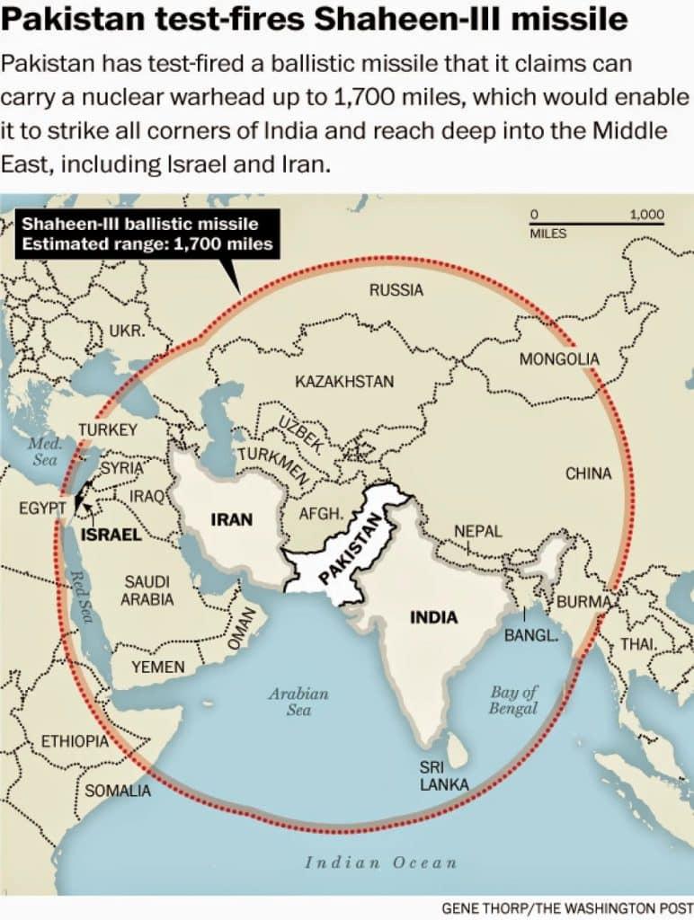 Pakistan Shaheen-3 missile range